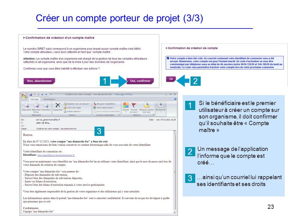 23 Créer un compte porteur de projet (3/3) 12 3 jean.legall@associationhospitaliere.fr Jean LE GALL Un message de lapplication linforme que le compte