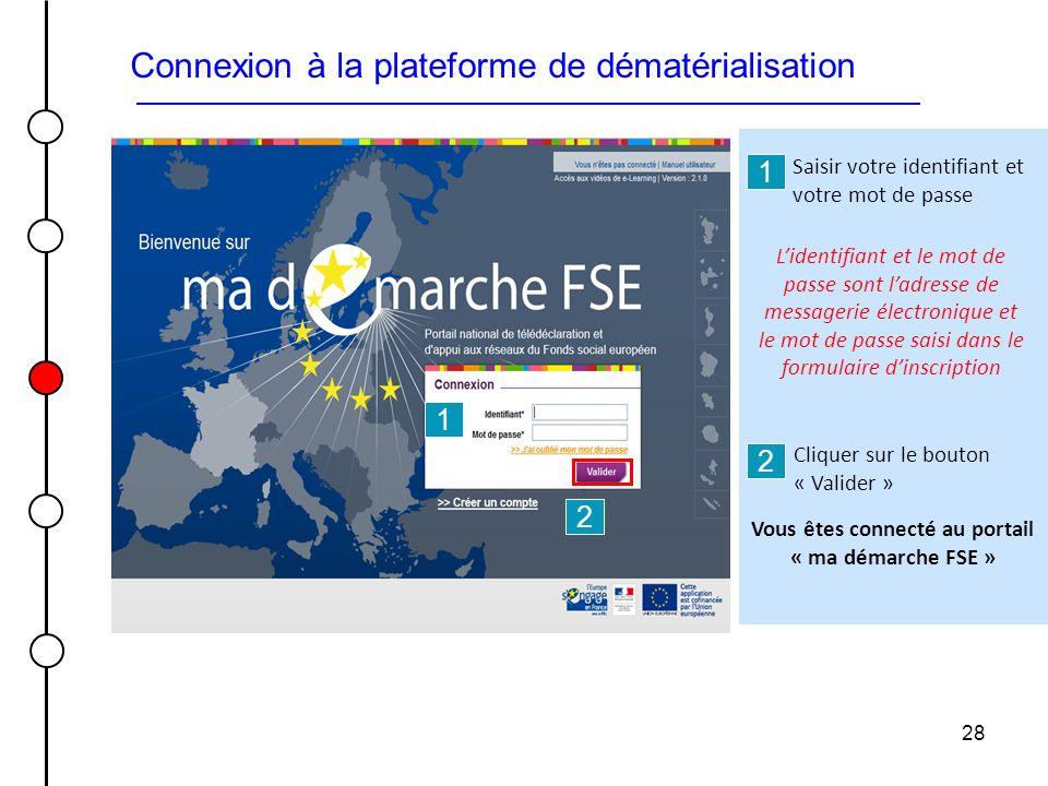 28 Connexion à la plateforme de dématérialisation 2 1 1 2 Vous êtes connecté au portail « ma démarche FSE » Cliquer sur le bouton « Valider » Saisir v