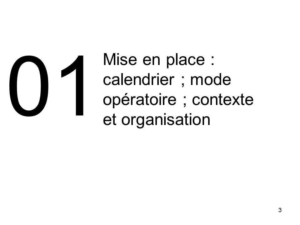 3 Mise en place : calendrier ; mode opératoire ; contexte et organisation 01