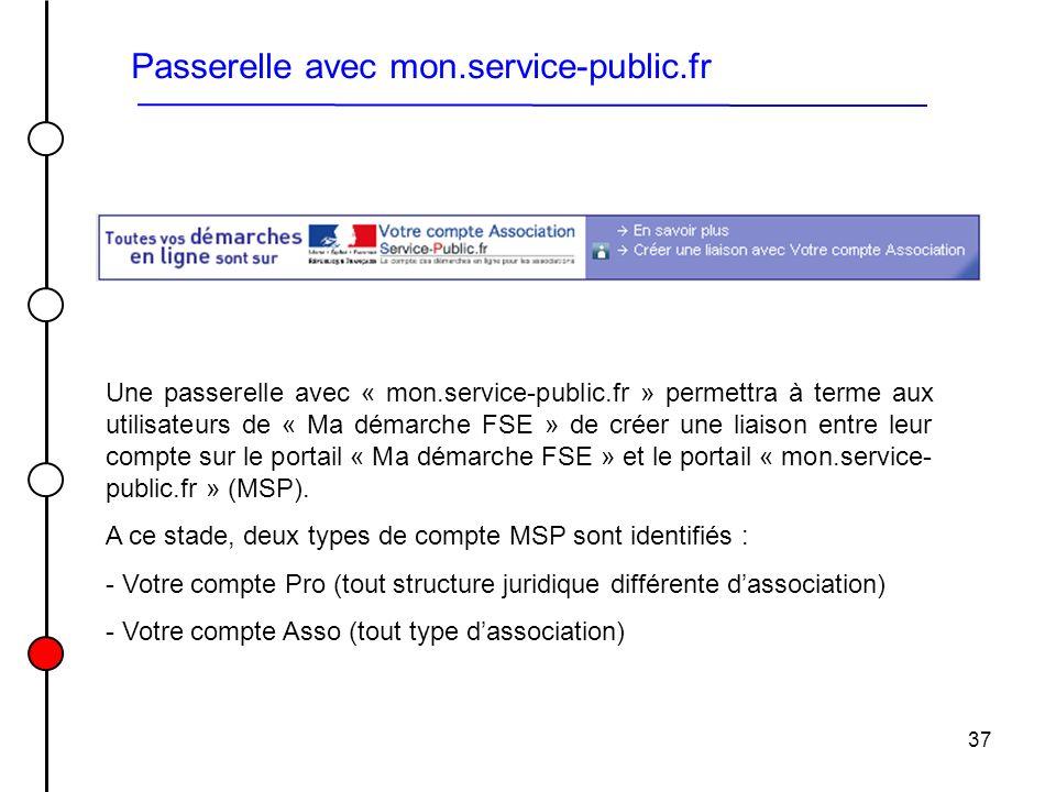37 Passerelle avec mon.service-public.fr Une passerelle avec « mon.service-public.fr » permettra à terme aux utilisateurs de « Ma démarche FSE » de cr