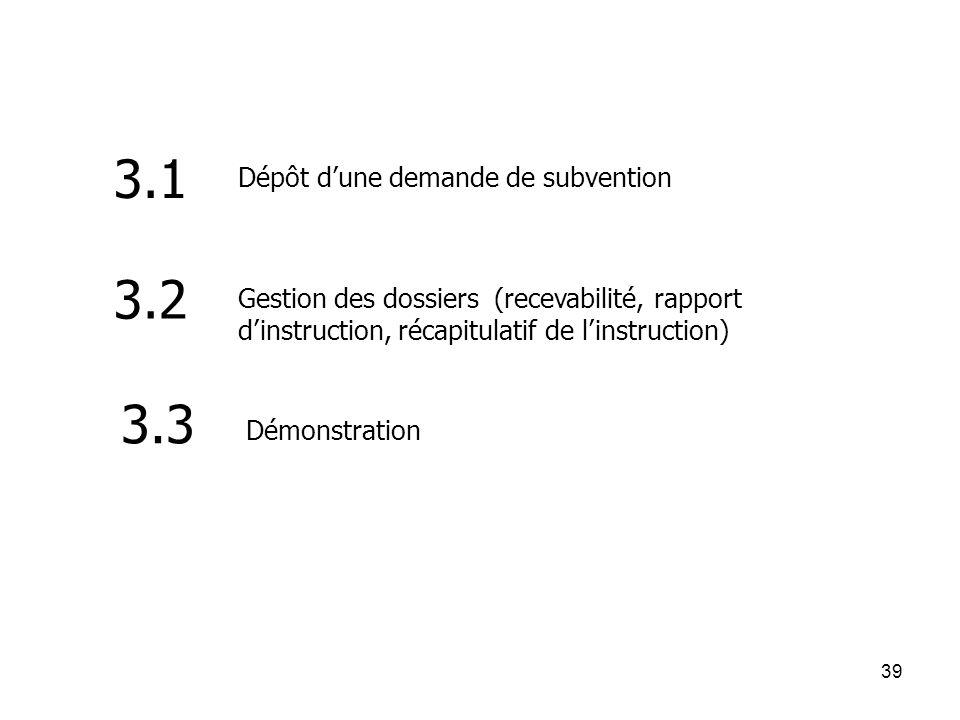 39 Dépôt dune demande de subvention 3.1 3.2 Gestion des dossiers (recevabilité, rapport dinstruction, récapitulatif de linstruction) 3.3 Démonstration