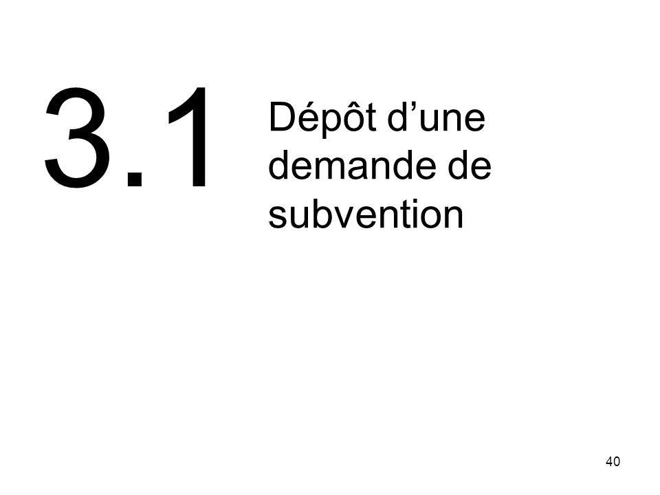 40 Dépôt dune demande de subvention 3.1