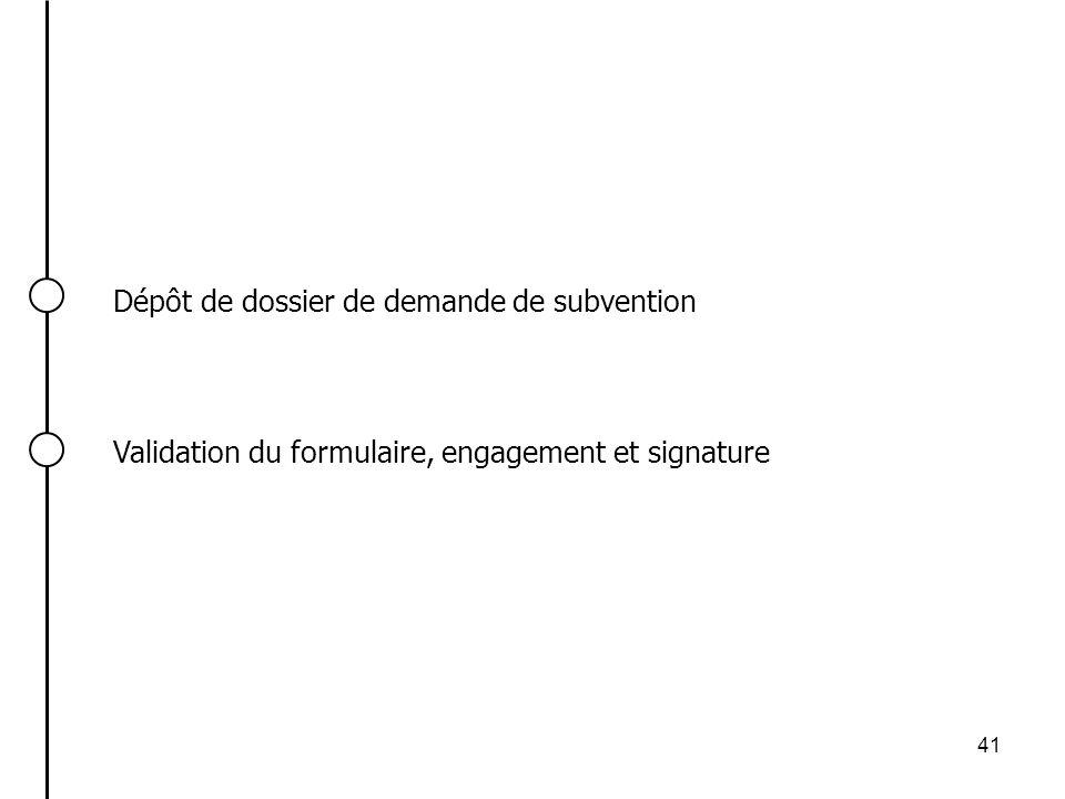 41 Dépôt de dossier de demande de subvention Validation du formulaire, engagement et signature