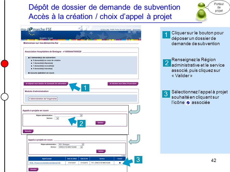 Dépôt de dossier de demande de subvention Accès à la création / choix dappel à projet Cliquer sur le bouton pour déposer un dossier de demande de subv