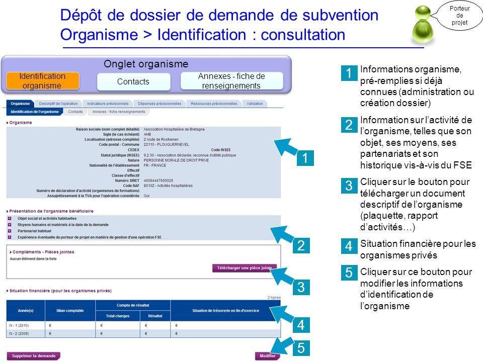 Dépôt de dossier de demande de subvention Organisme > Identification : consultation Informations organisme, pré-remplies si déjà connues (administrati