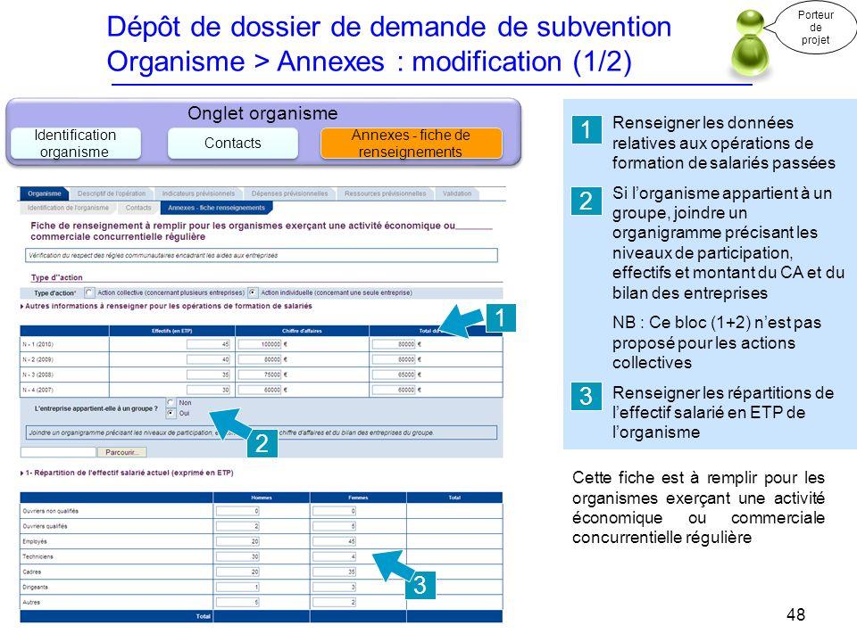 Dépôt de dossier de demande de subvention Organisme > Annexes : modification (1/2) Renseigner les données relatives aux opérations de formation de sal