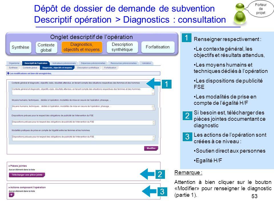 Dépôt de dossier de demande de subvention Descriptif opération > Diagnostics : consultation Renseigner respectivement : Le contexte général, les objec