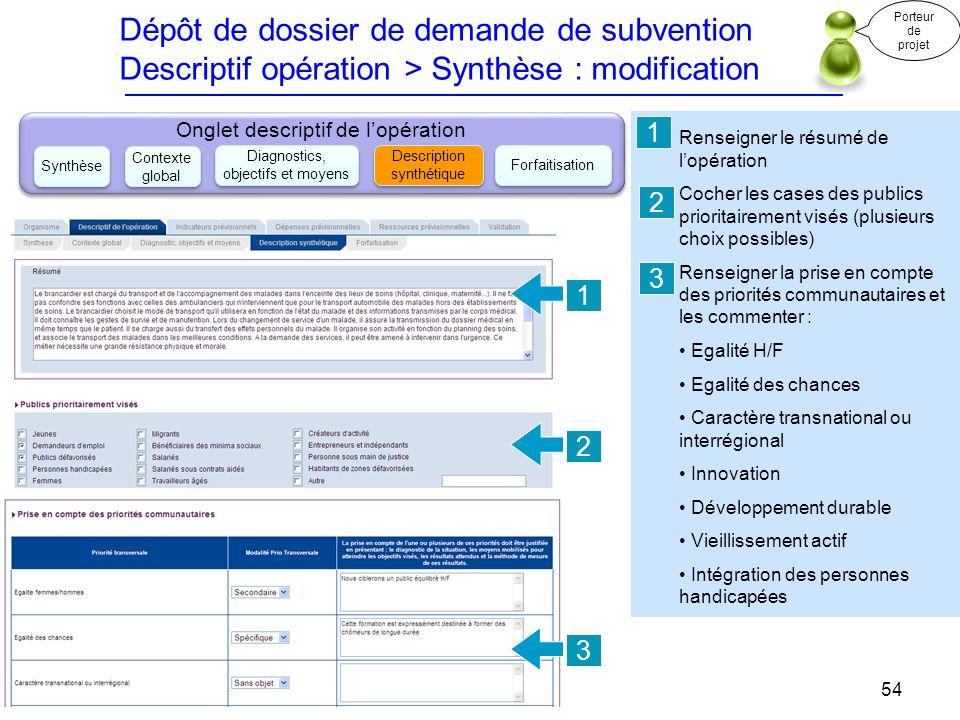 Dépôt de dossier de demande de subvention Descriptif opération > Synthèse : modification Renseigner le résumé de lopération Cocher les cases des publi
