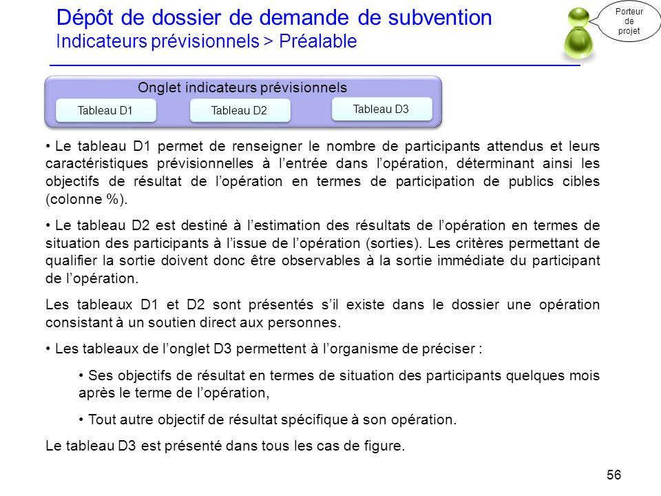 Dépôt de dossier de demande de subvention Indicateurs prévisionnels > Préalable Porteur de projet 56 Onglet indicateurs prévisionnels Tableau D1 Table