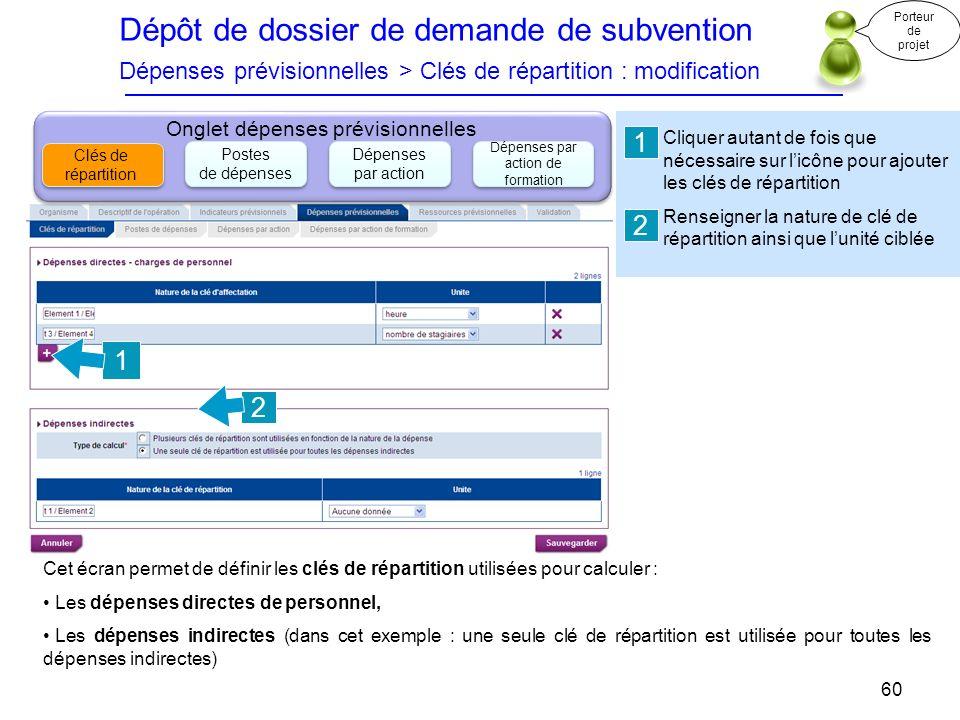 Dépôt de dossier de demande de subvention Dépenses prévisionnelles > Clés de répartition : modification Cliquer autant de fois que nécessaire sur licô