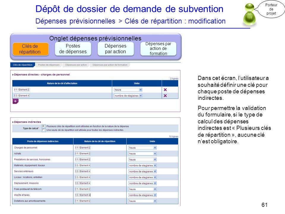 Dépôt de dossier de demande de subvention Dépenses prévisionnelles > Clés de répartition : modification Porteur de projet 61 Onglet dépenses prévision