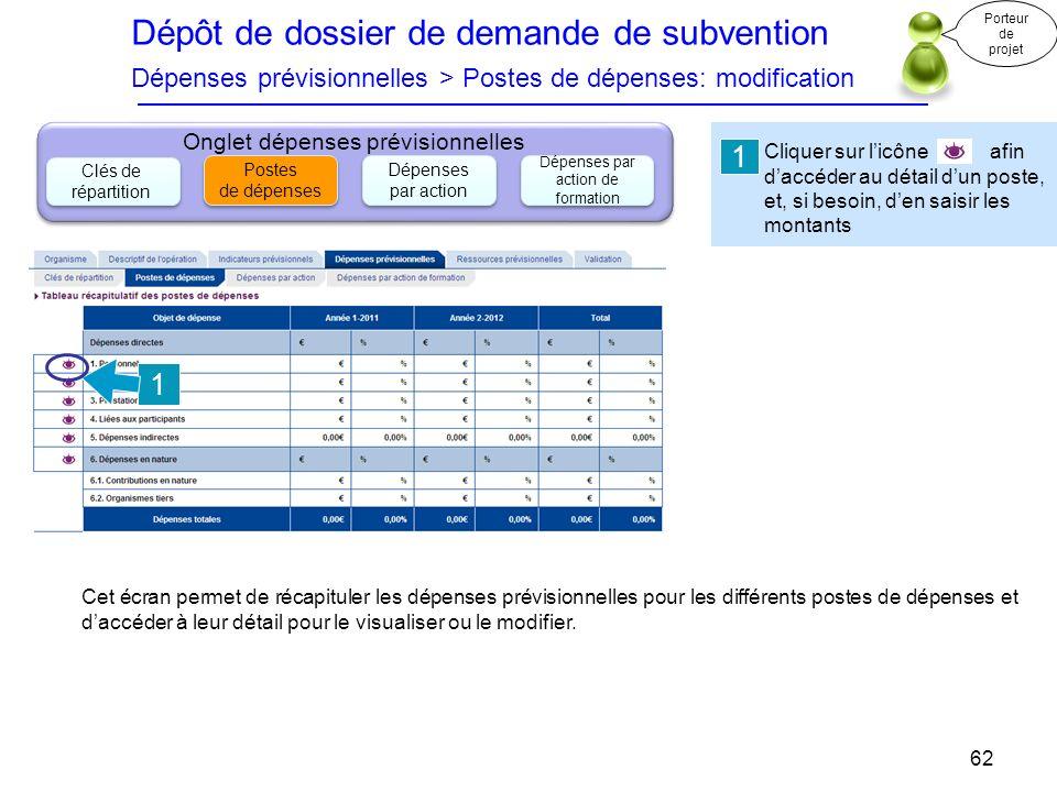 Dépôt de dossier de demande de subvention Dépenses prévisionnelles > Postes de dépenses: modification Cliquer sur licône afin daccéder au détail dun p