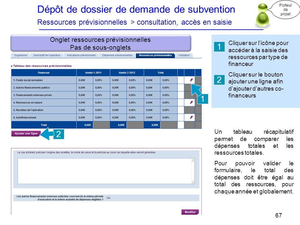 Dépôt de dossier de demande de subvention Ressources prévisionnelles > consultation, accès en saisie Cliquer sur licône pour accéder à la saisie des r