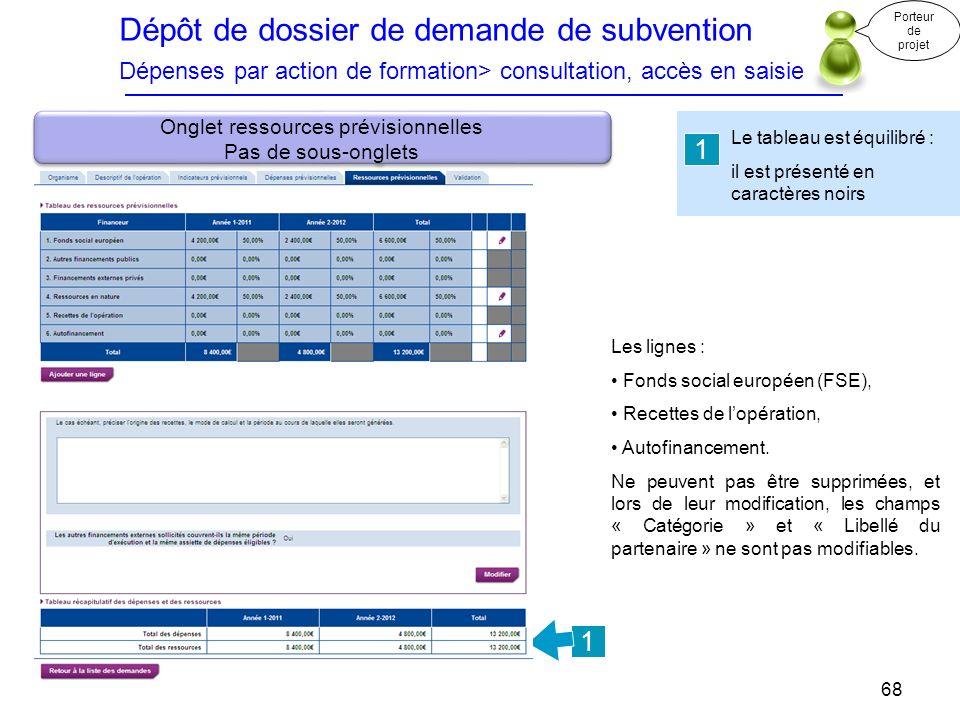 Dépôt de dossier de demande de subvention Dépenses par action de formation> consultation, accès en saisie Le tableau est équilibré : il est présenté e