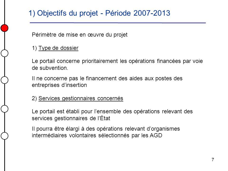 7 Périmètre de mise en œuvre du projet 1) Type de dossier Le portail concerne prioritairement les opérations financées par voie de subvention. Il ne c
