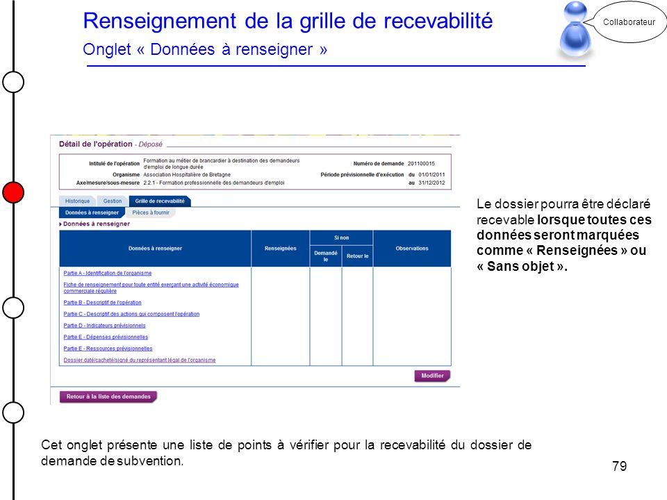 79 Collaborateur Renseignement de la grille de recevabilité Onglet « Données à renseigner » Le dossier pourra être déclaré recevable lorsque toutes ce