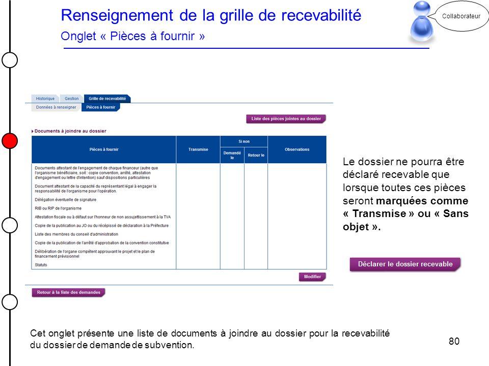 80 Collaborateur Renseignement de la grille de recevabilité Onglet « Pièces à fournir » Le dossier ne pourra être déclaré recevable que lorsque toutes