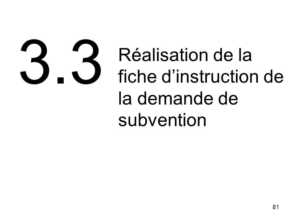 81 3.3 Réalisation de la fiche dinstruction de la demande de subvention