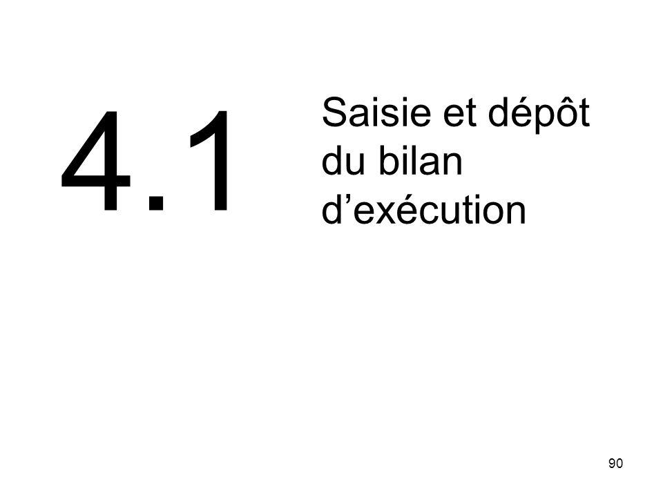 90 Saisie et dépôt du bilan dexécution 4.1