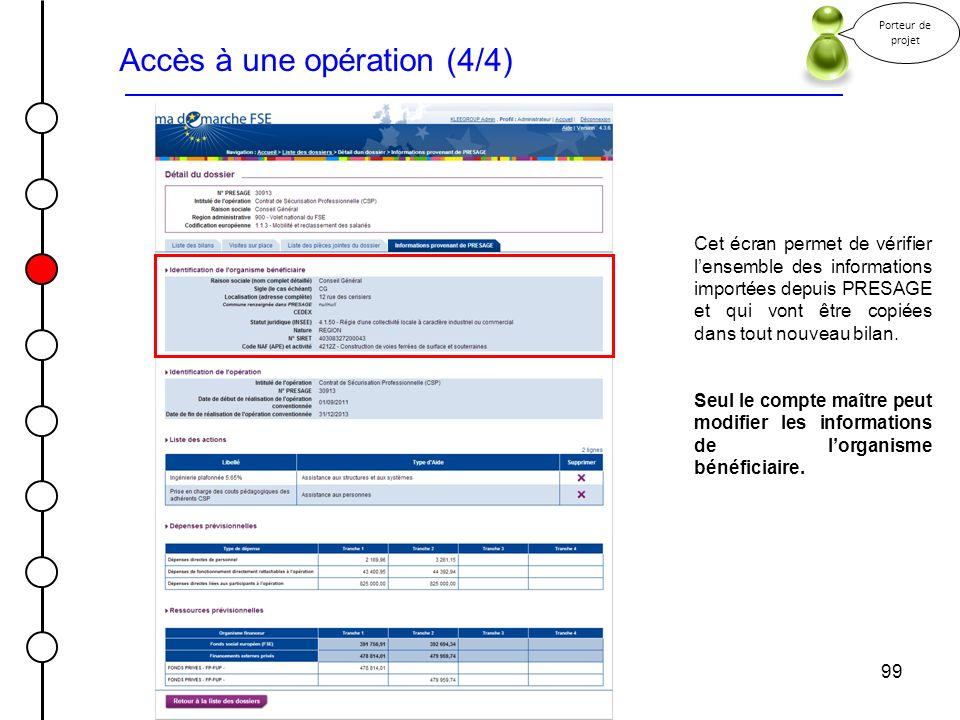 99 Accès à une opération (4/4) Porteur de projet Cet écran permet de vérifier lensemble des informations importées depuis PRESAGE et qui vont être cop