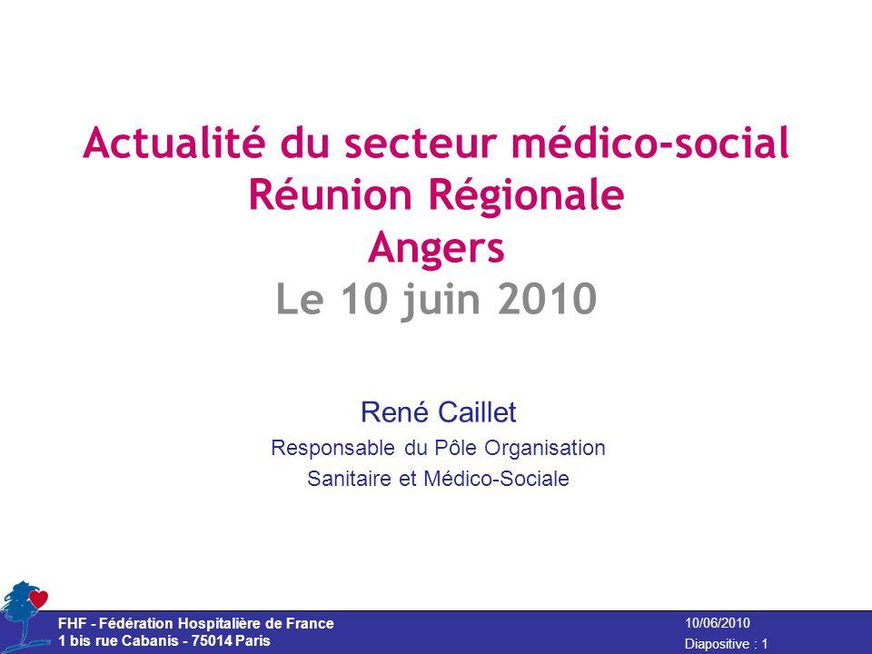 FHF - Fédération Hospitalière de France 1 bis rue Cabanis - 75014 Paris Diapositive : 1 10/06/2010 Actualité du secteur médico-social Réunion Régional