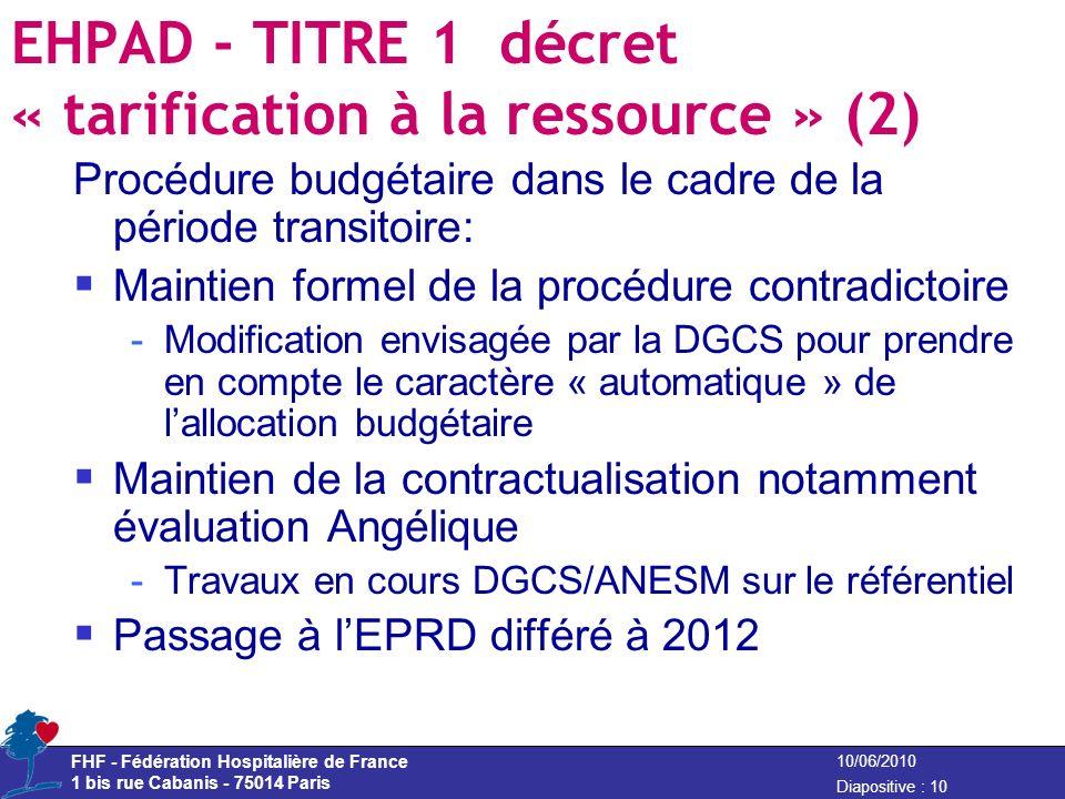FHF - Fédération Hospitalière de France 1 bis rue Cabanis - 75014 Paris Diapositive : 10 10/06/2010 EHPAD - TITRE 1 décret « tarification à la ressour