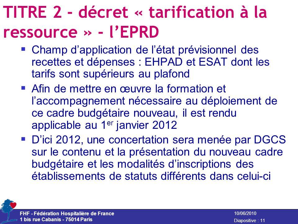 FHF - Fédération Hospitalière de France 1 bis rue Cabanis - 75014 Paris Diapositive : 11 10/06/2010 TITRE 2 - décret « tarification à la ressource » -