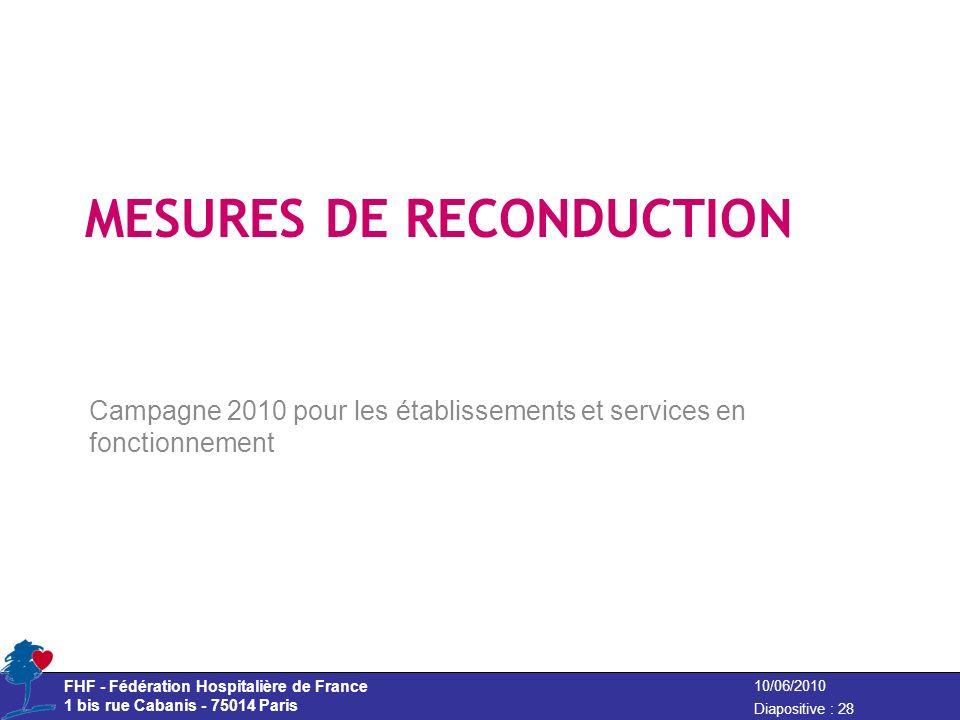 FHF - Fédération Hospitalière de France 1 bis rue Cabanis - 75014 Paris Diapositive : 28 10/06/2010 MESURES DE RECONDUCTION Campagne 2010 pour les éta