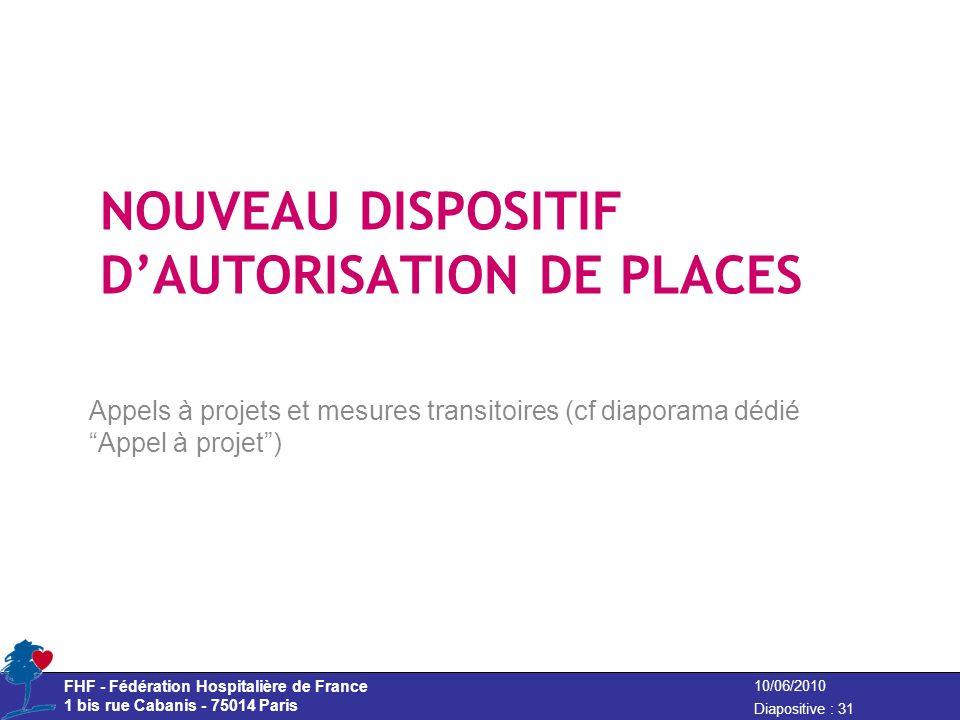 FHF - Fédération Hospitalière de France 1 bis rue Cabanis - 75014 Paris Diapositive : 31 10/06/2010 NOUVEAU DISPOSITIF DAUTORISATION DE PLACES Appels