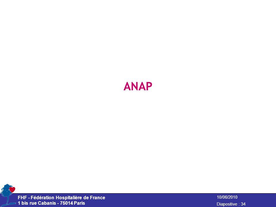 10/06/2010 Diapositive : 34 FHF - Fédération Hospitalière de France 1 bis rue Cabanis - 75014 Paris ANAP