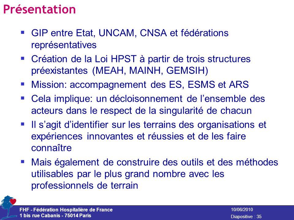 FHF - Fédération Hospitalière de France 1 bis rue Cabanis - 75014 Paris Diapositive : 35 10/06/2010 Présentation GIP entre Etat, UNCAM, CNSA et fédéra