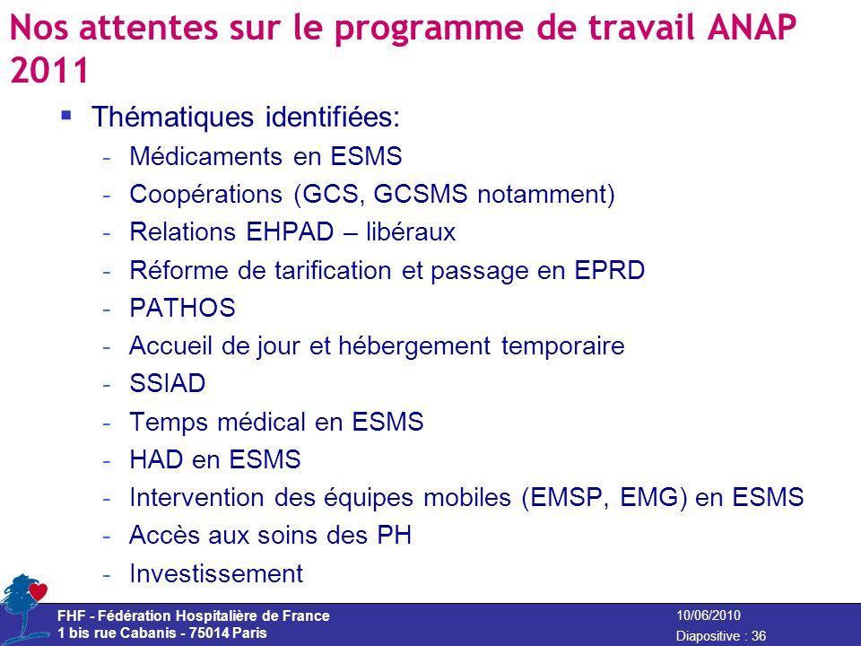 FHF - Fédération Hospitalière de France 1 bis rue Cabanis - 75014 Paris Diapositive : 36 10/06/2010 Nos attentes sur le programme de travail ANAP 2011