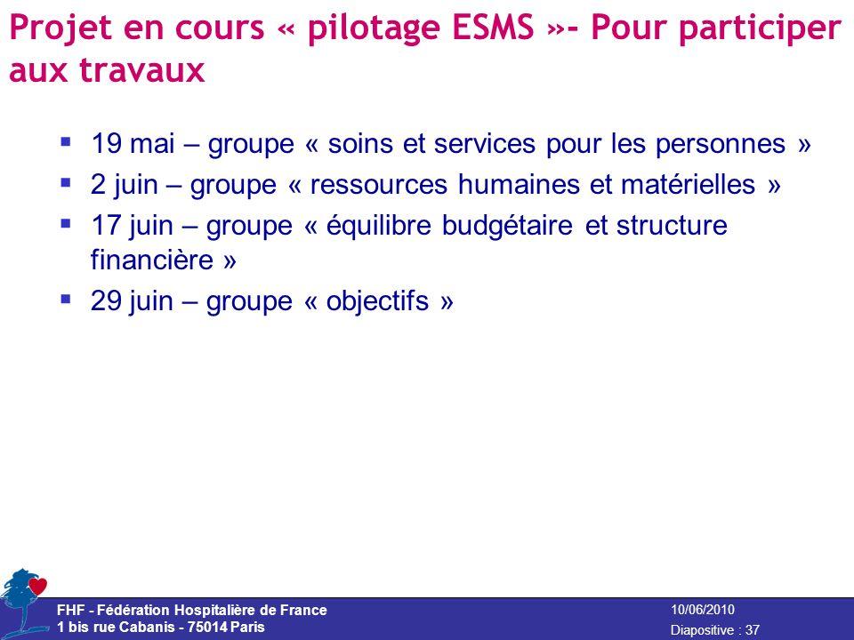 FHF - Fédération Hospitalière de France 1 bis rue Cabanis - 75014 Paris Diapositive : 37 10/06/2010 Projet en cours « pilotage ESMS »- Pour participer