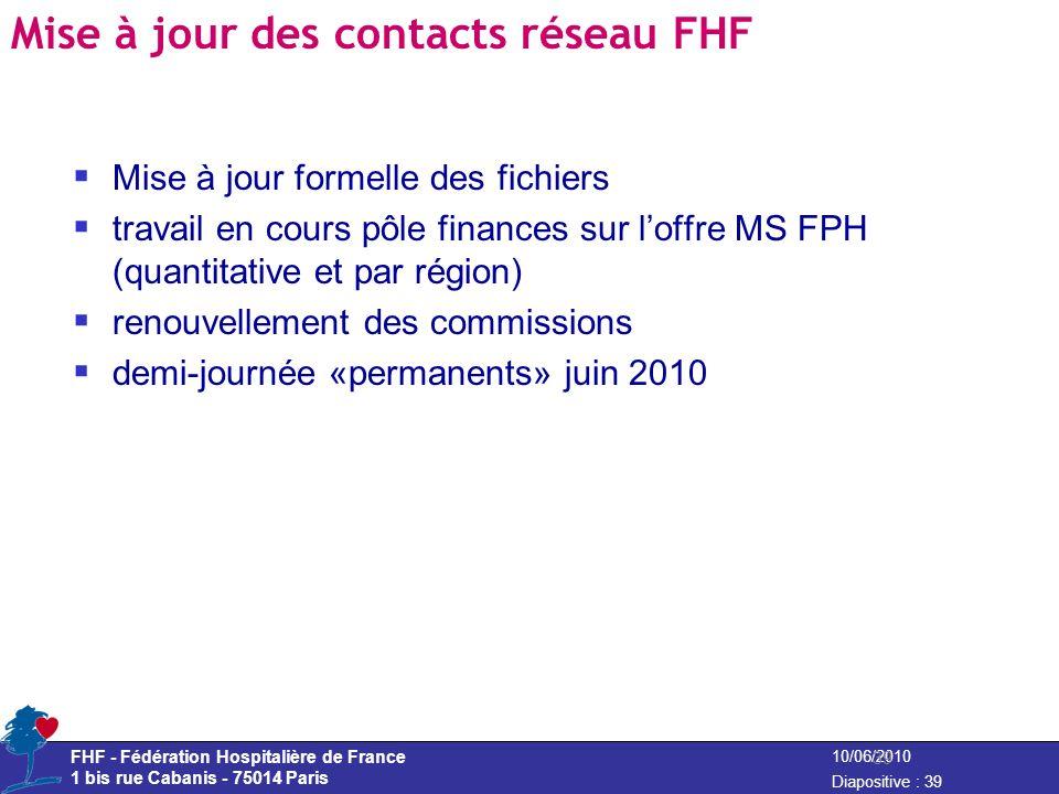 FHF - Fédération Hospitalière de France 1 bis rue Cabanis - 75014 Paris Diapositive : 39 10/06/2010 Mise à jour des contacts réseau FHF Mise à jour fo
