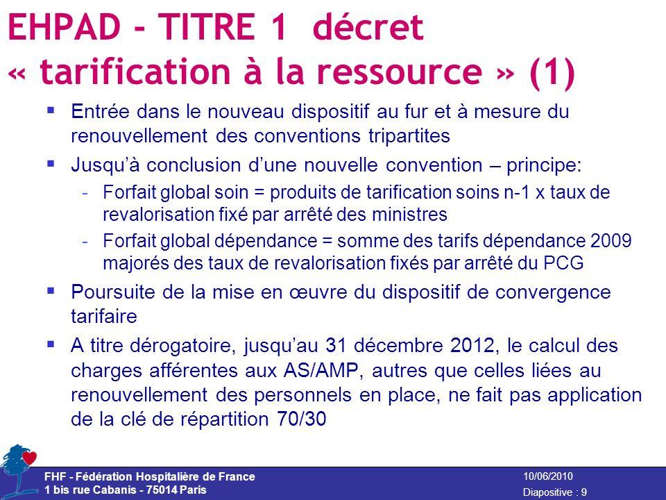 FHF - Fédération Hospitalière de France 1 bis rue Cabanis - 75014 Paris Diapositive : 9 10/06/2010 EHPAD - TITRE 1 décret « tarification à la ressourc