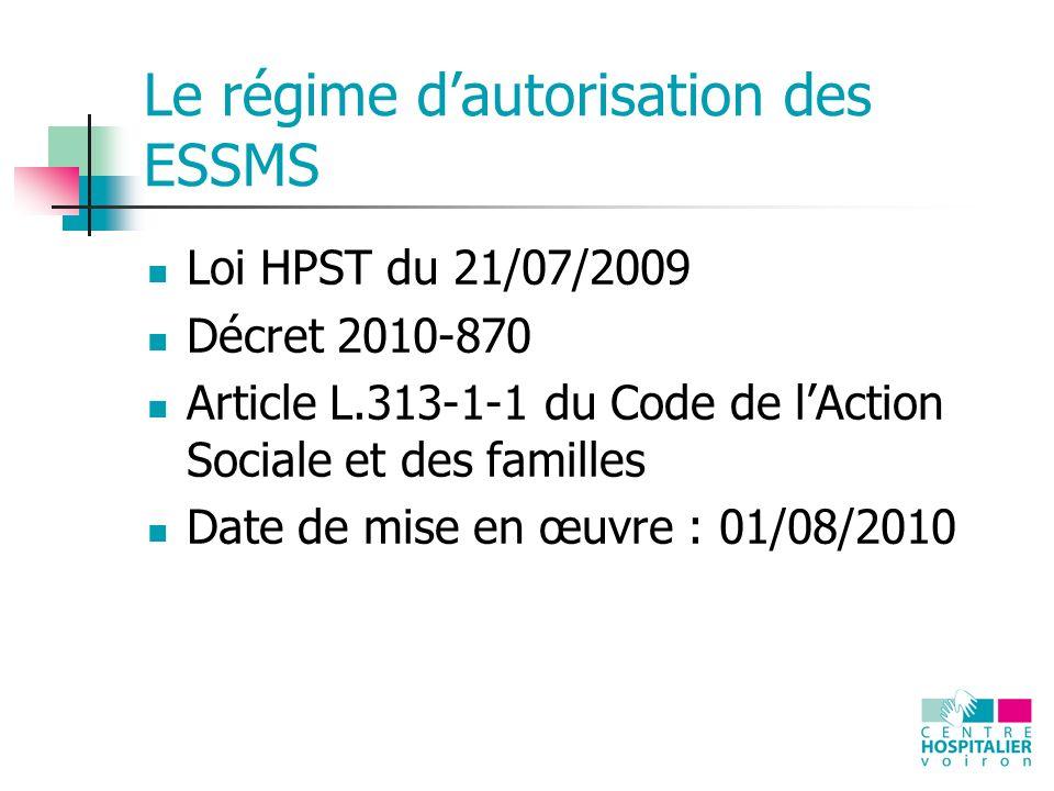 Le régime dautorisation des ESSMS Loi HPST du 21/07/2009 Décret 2010-870 Article L.313-1-1 du Code de lAction Sociale et des familles Date de mise en œuvre : 01/08/2010