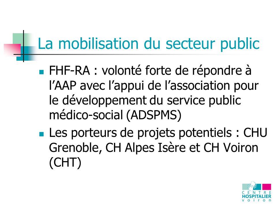 La mobilisation du secteur public FHF-RA : volonté forte de répondre à lAAP avec lappui de lassociation pour le développement du service public médico-social (ADSPMS) Les porteurs de projets potentiels : CHU Grenoble, CH Alpes Isère et CH Voiron (CHT)