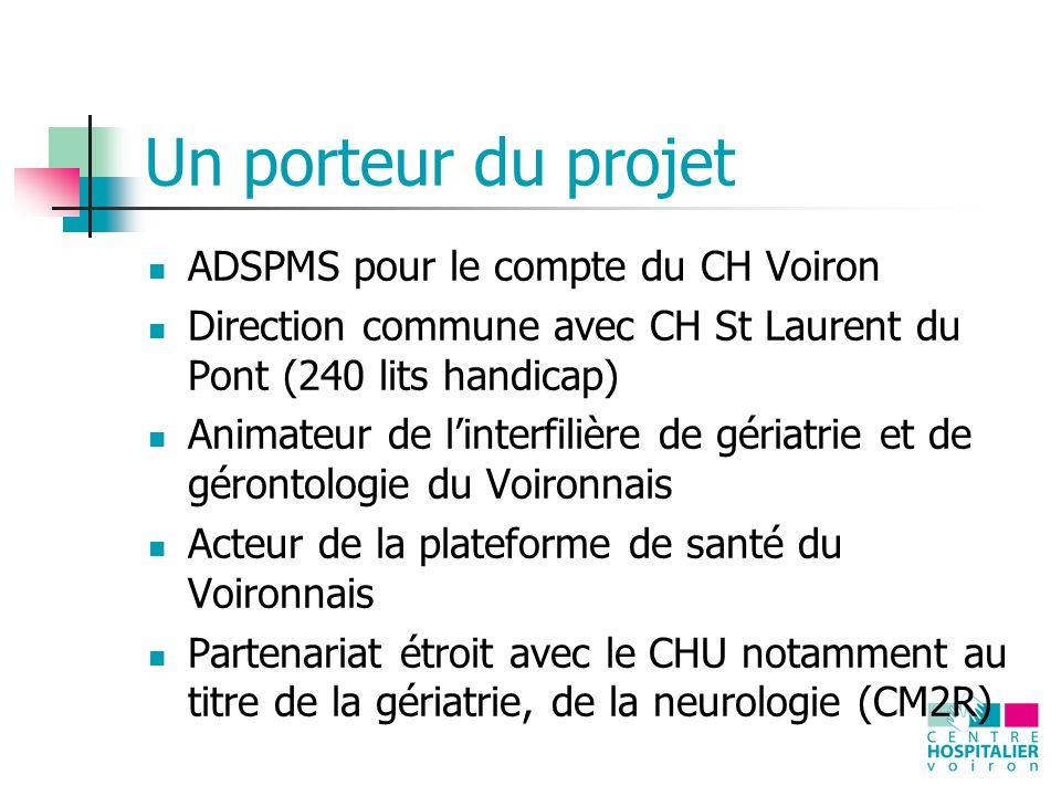 Un porteur du projet ADSPMS pour le compte du CH Voiron Direction commune avec CH St Laurent du Pont (240 lits handicap) Animateur de linterfilière de gériatrie et de gérontologie du Voironnais Acteur de la plateforme de santé du Voironnais Partenariat étroit avec le CHU notamment au titre de la gériatrie, de la neurologie (CM2R)