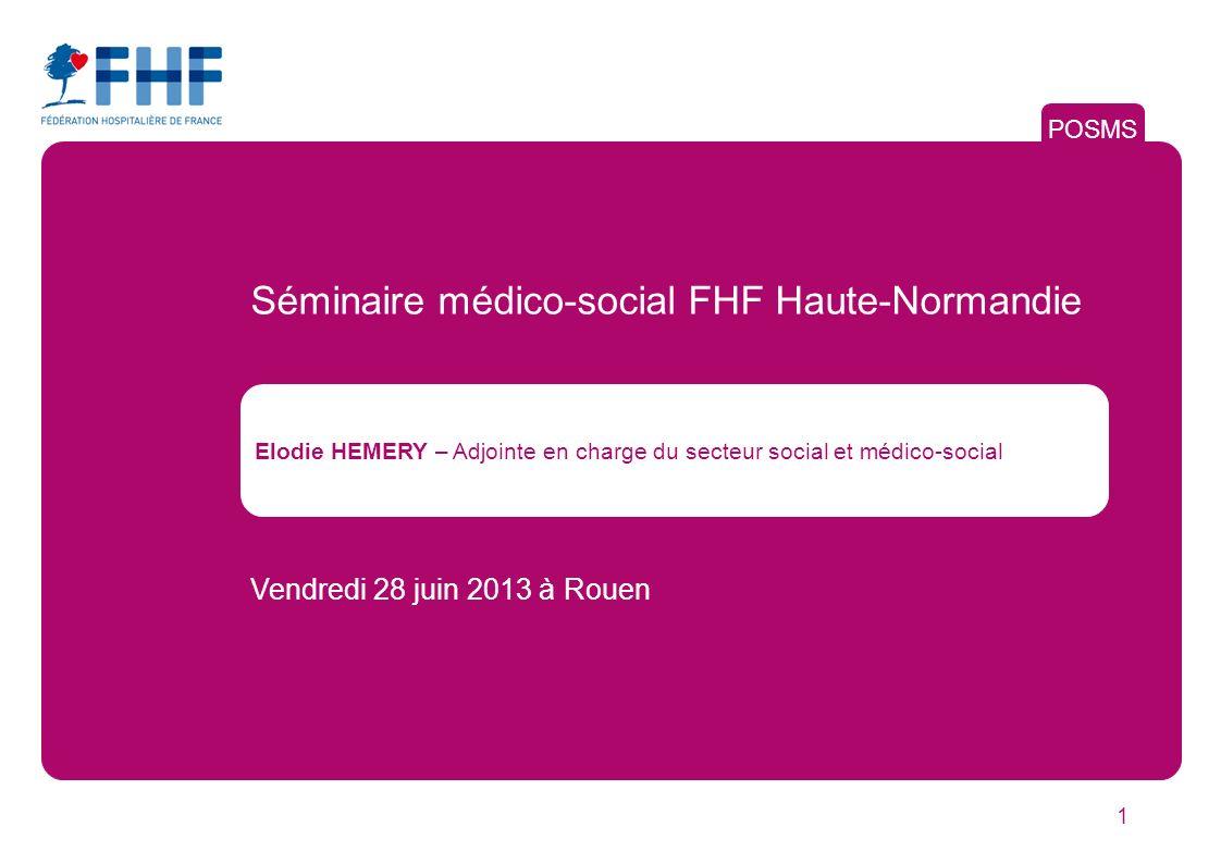 1 POSMS Elodie HEMERY – Adjointe en charge du secteur social et médico-social Vendredi 28 juin 2013 à Rouen Séminaire médico-social FHF Haute-Normandie
