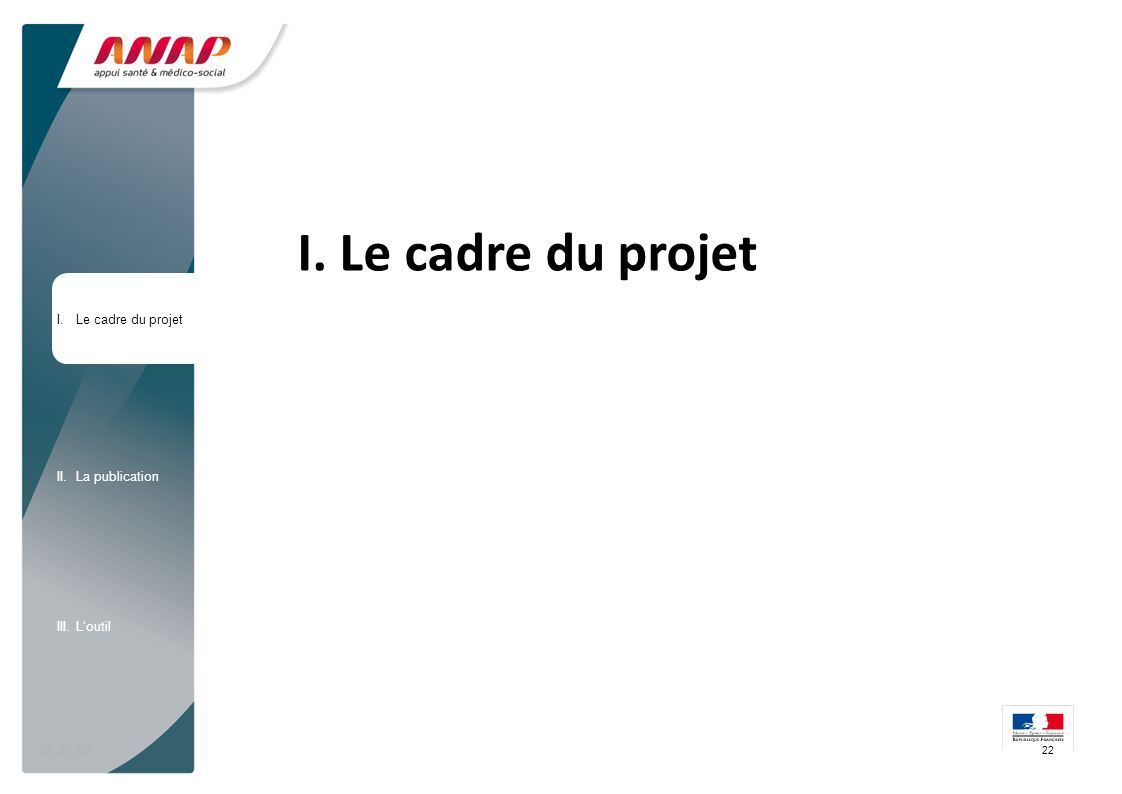 09.07.10 I. Le cadre du projet 22 I.Le cadre du projet II.La publication III.Loutil