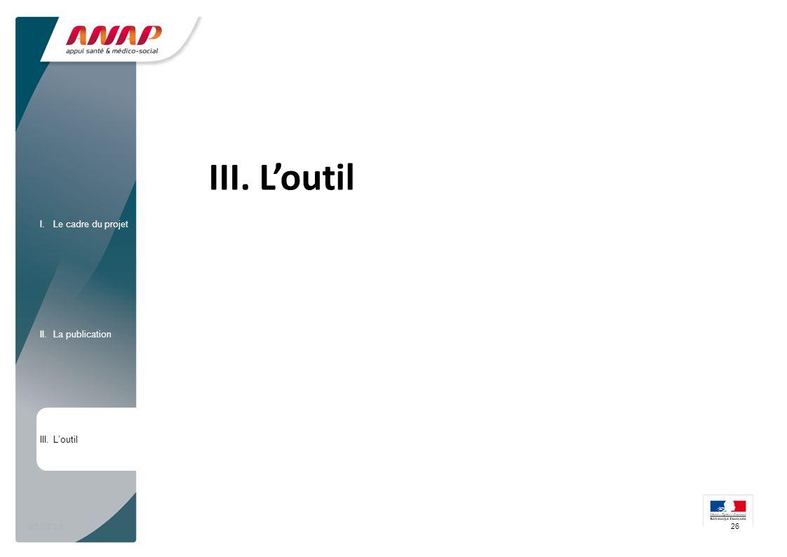 09.07.10 III. Loutil 26 I.Le cadre du projet II.La publication III.Loutil