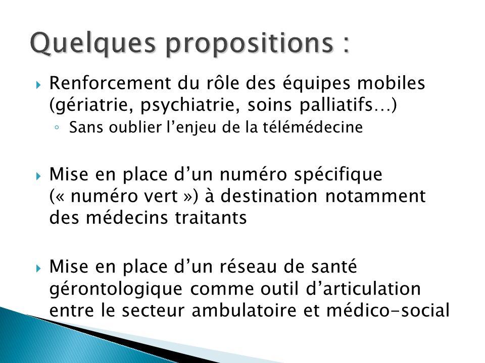 Renforcement du rôle des équipes mobiles (gériatrie, psychiatrie, soins palliatifs…) Sans oublier lenjeu de la télémédecine Mise en place dun numéro s