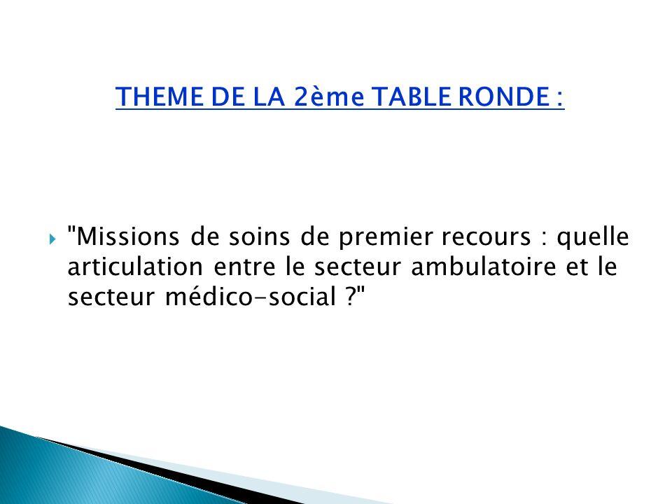 THEME DE LA 2ème TABLE RONDE : Missions de soins de premier recours : quelle articulation entre le secteur ambulatoire et le secteur médico-social ?