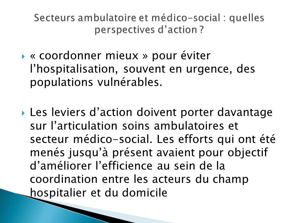« coordonner mieux » pour éviter lhospitalisation, souvent en urgence, des populations vulnérables. Les leviers daction doivent porter davantage sur l