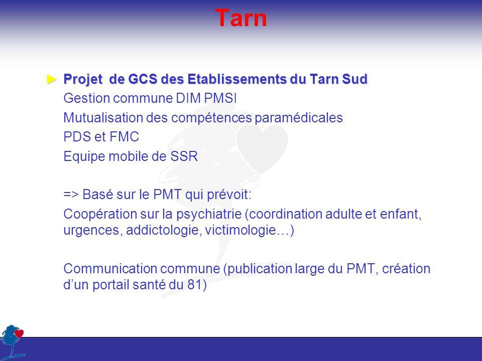 Tarn Projet de GCS des Etablissements du Tarn SudProjet de GCS des Etablissements du Tarn Sud Gestion commune DIM PMSI Mutualisation des compétences p