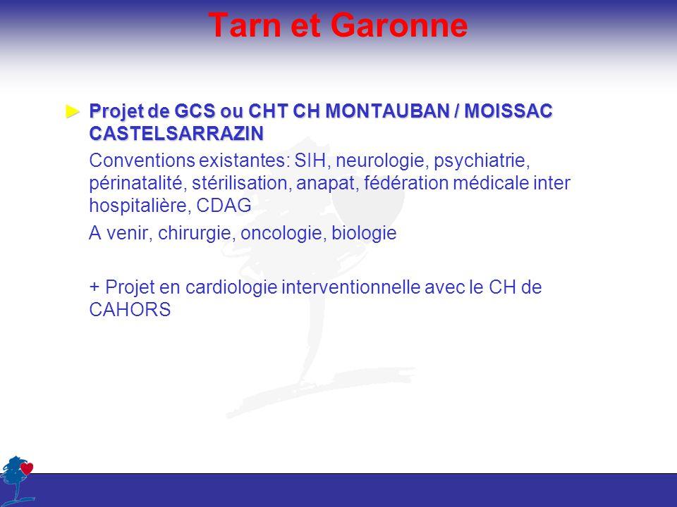 Tarn et Garonne Projet de GCS ou CHT CH MONTAUBAN / MOISSAC CASTELSARRAZINProjet de GCS ou CHT CH MONTAUBAN / MOISSAC CASTELSARRAZIN Conventions exist
