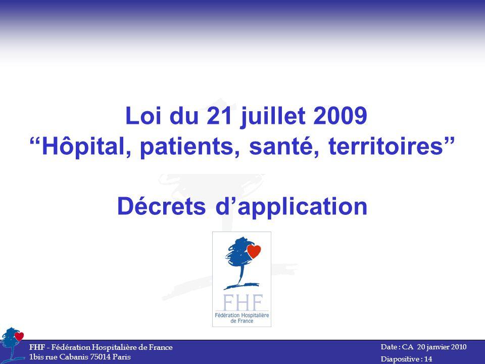 Date : CA 20 janvier 2010 FHF - Fédération Hospitalière de France 1bis rue Cabanis 75014 Paris Diapositive : 14 Loi du 21 juillet 2009 Hôpital, patien