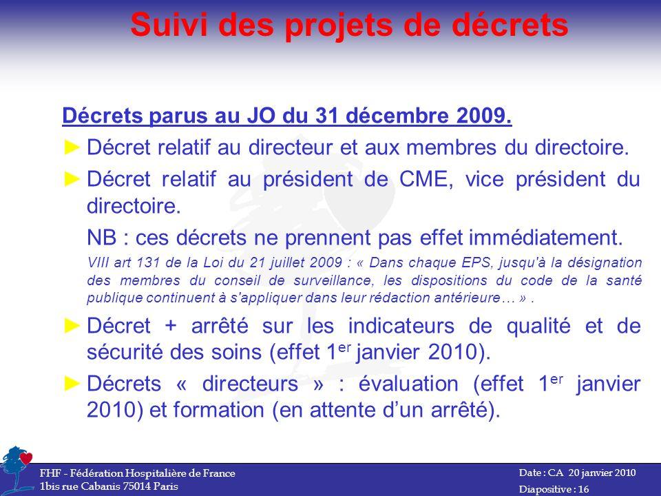 Suivi des projets de décrets Décrets parus au JO du 31 décembre 2009. Décret relatif au directeur et aux membres du directoire. Décret relatif au prés