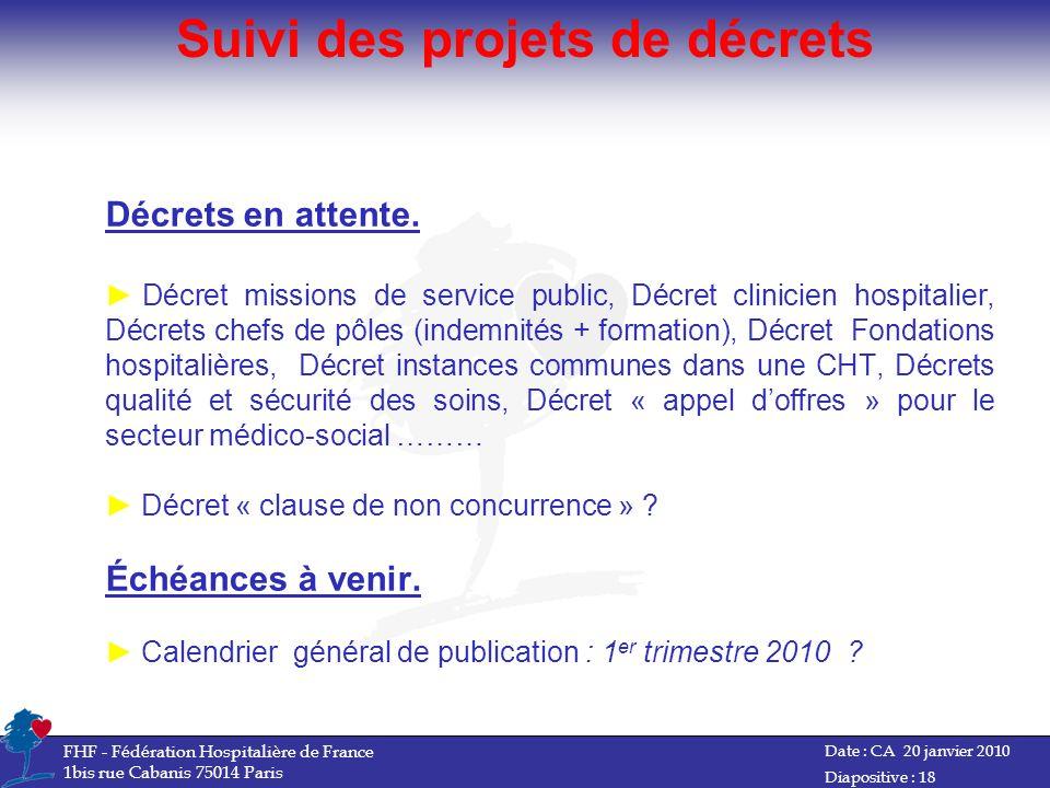 Suivi des projets de décrets Date : CA 20 janvier 2010 FHF - Fédération Hospitalière de France 1bis rue Cabanis 75014 Paris Diapositive : 18 Décrets e