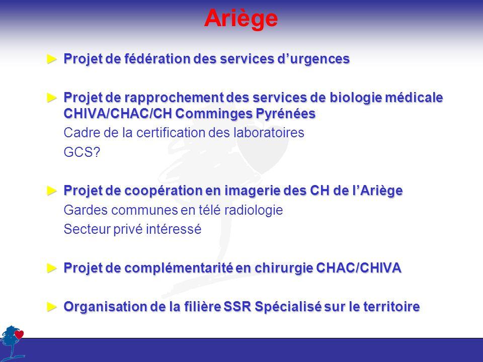 Ariège Projet de fédération des services durgencesProjet de fédération des services durgences Projet de rapprochement des services de biologie médical